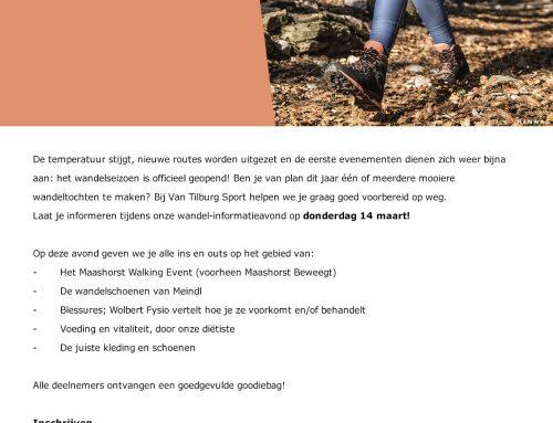 Wandelinformatieavond bij Van Tilburg Sport in Nistelrode